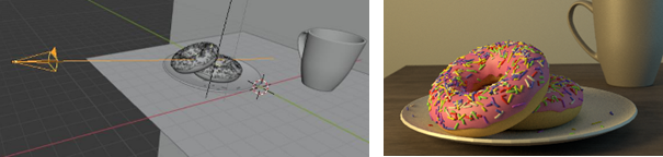 Figure 2: Aesthetic 3D-rendering on the right created in Blender from the scene on the left