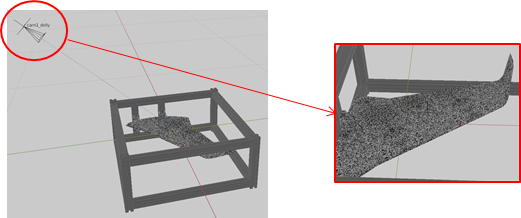 Figure 3: Virtual image of an airplane wing model on the right from a camera positioned in the Blender scene on the left
